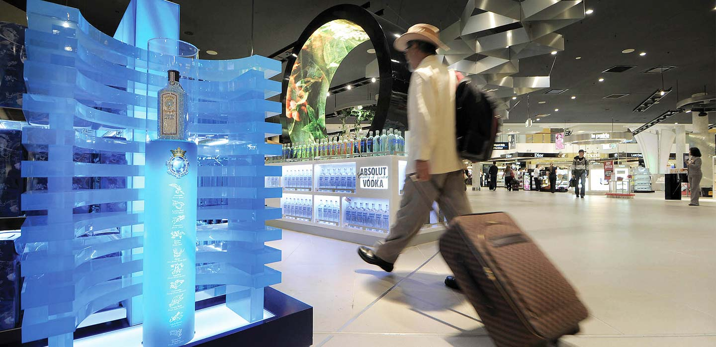 Innovative visual merchandising display Sydney Airport designed by CampbellRigg