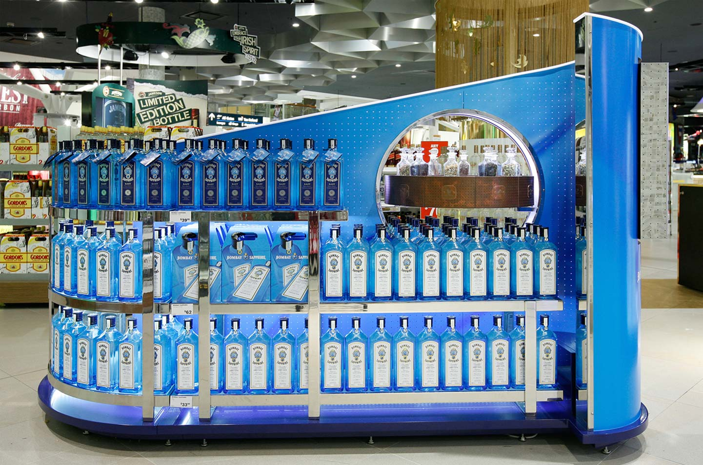 Innovative Bombay Sapphire visual merchandising display Sydney Airport designed by CampbellRigg
