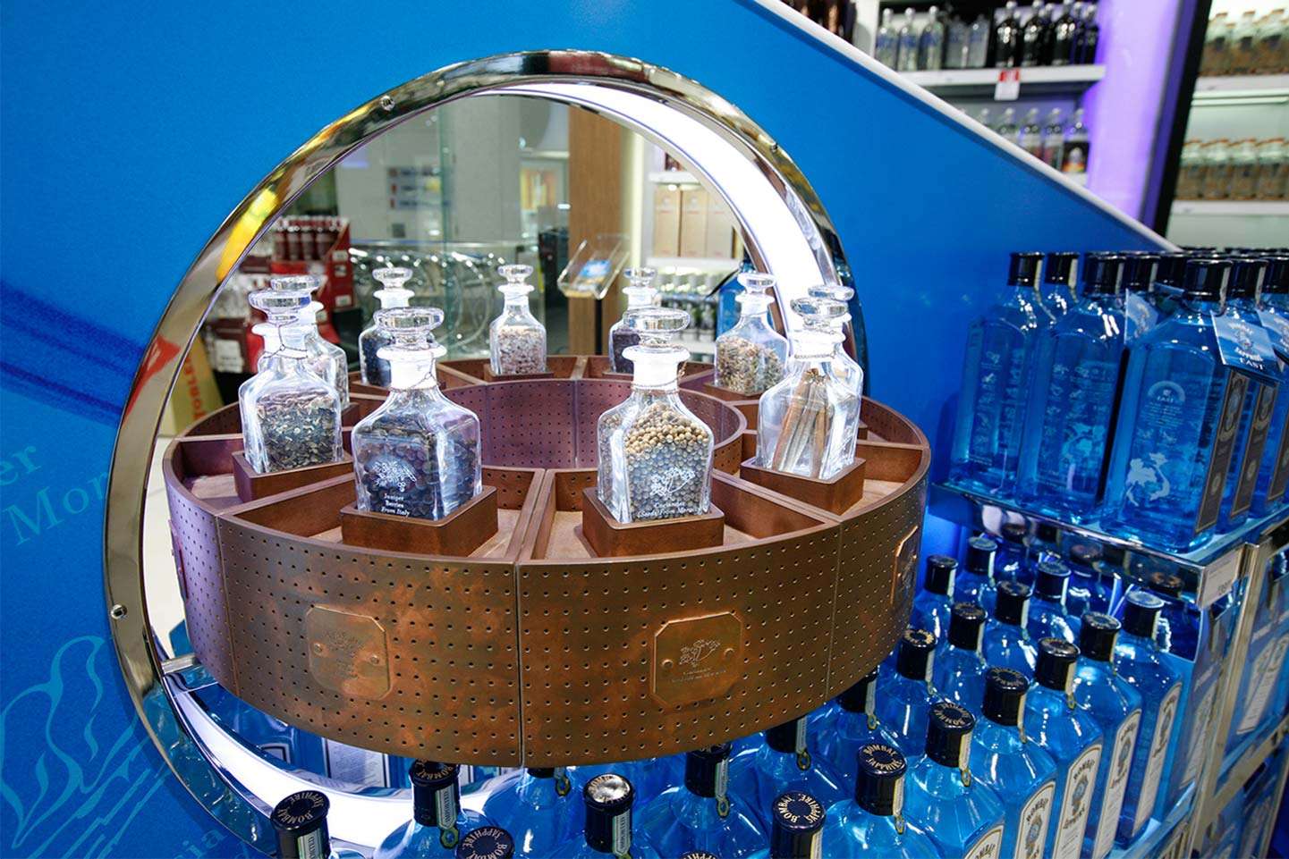 Detail of Bombay Sapphire visual merchandising display Sydney Airport designed by CampbellRigg