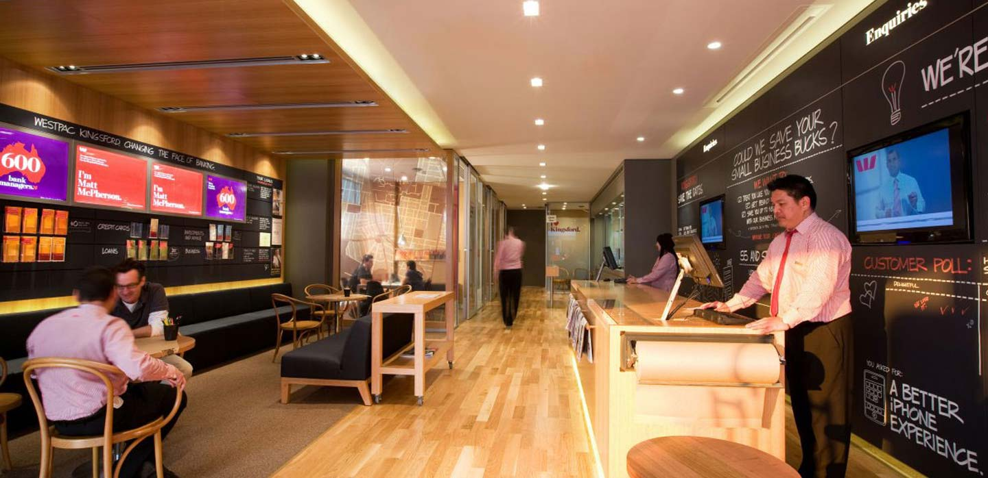 Westpac bank interior,  Image from The Financial Brand.com