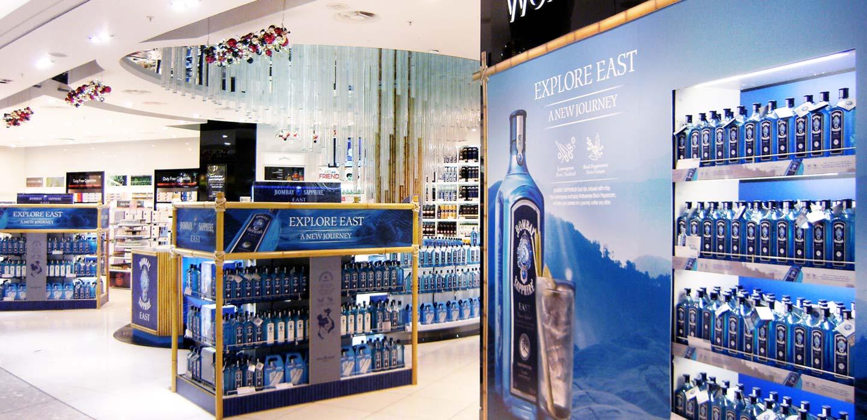 Innovative visual merchandising Bombay Sapphire East Heathrow Terminal 5