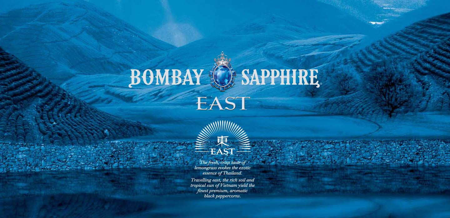 Innovative graphic promotion Bombay Sapphire East Heathrow Terminal 5