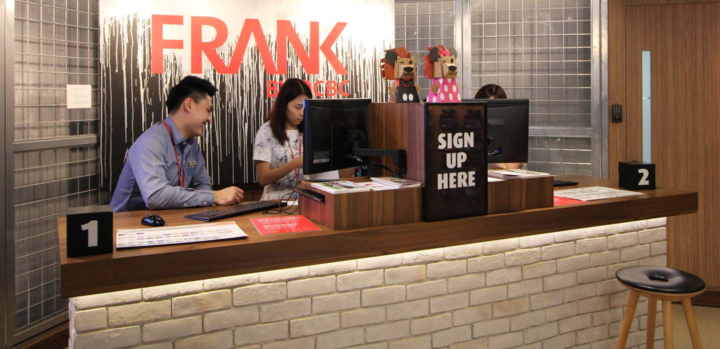 OCBC Frank bank instant current account opening desk, Singapore