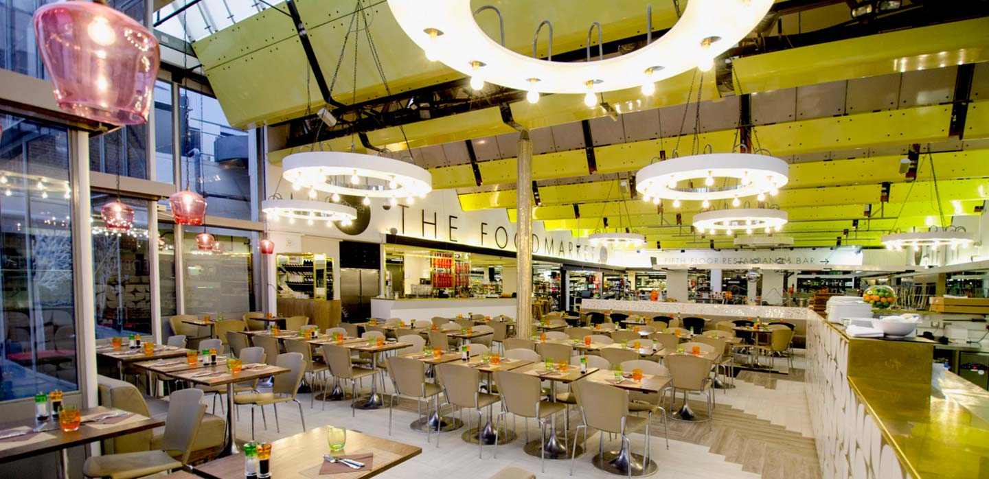 Fifth Floor Café,  Harvey Nichols Knightsbridge designed by Lifschutz Davidson Sandilands