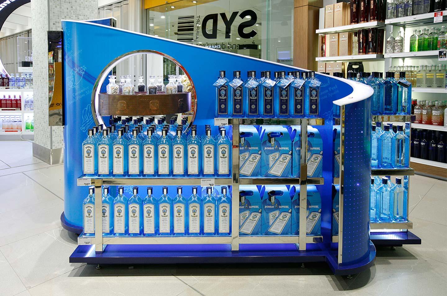 Innovative merchandising display Bombay Sapphire