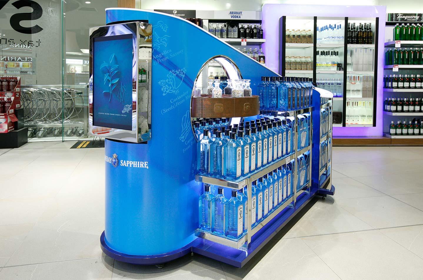 Innovative digital display merchandising solution Bombay Sapphire