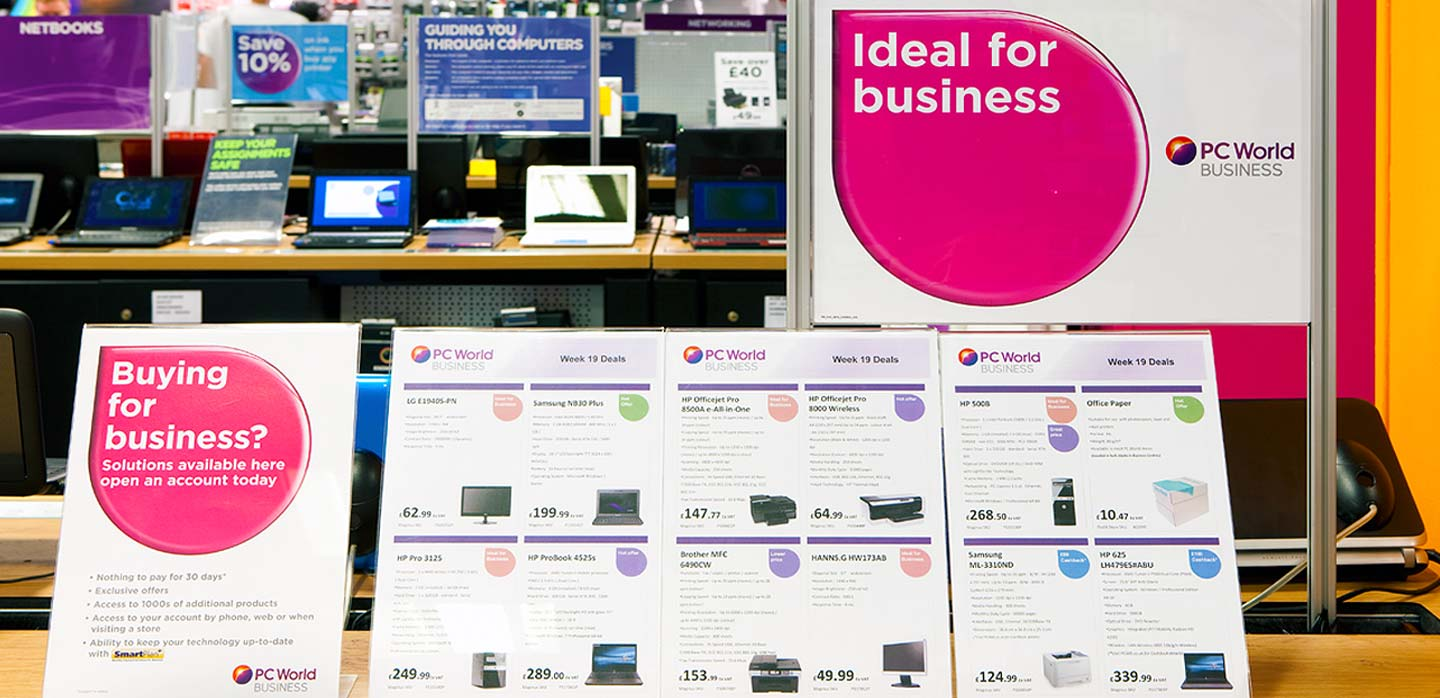 Currys PC World business sub brand identity and point of sale brand tool kit
