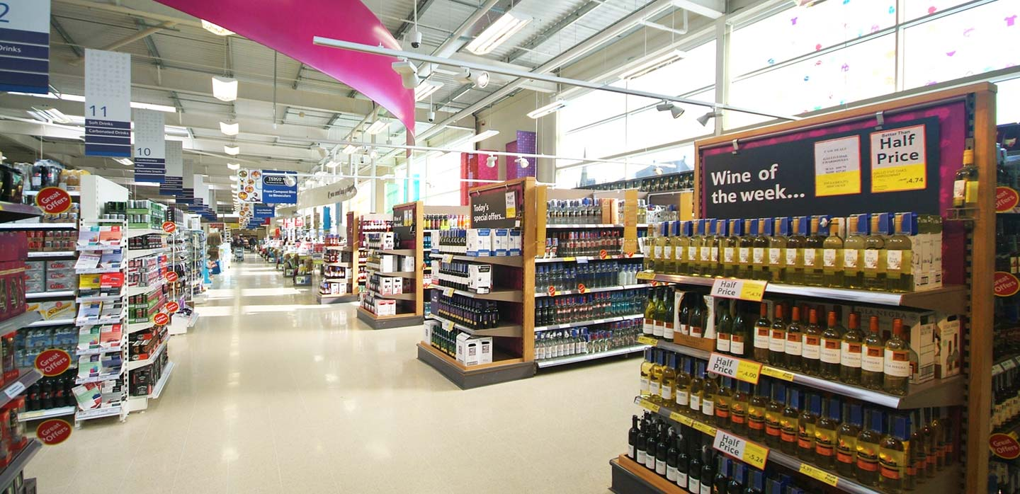 Tesco wine department, merchandising system and POS communications and navigation wayfinding