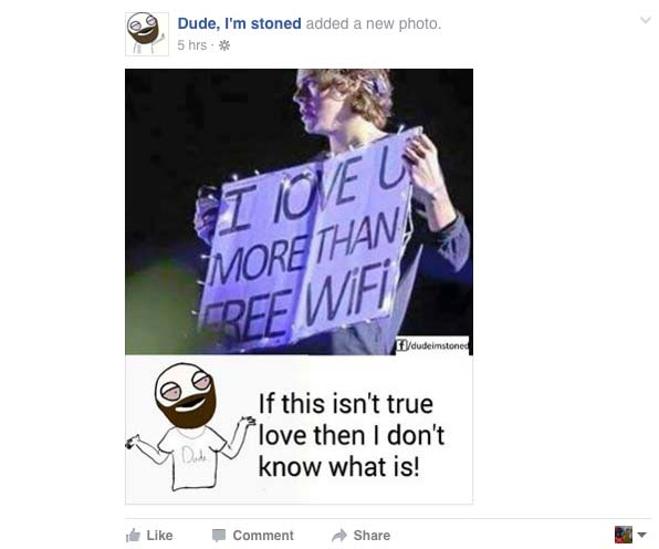 Dude, I'm stoned facebook 2,416,280 page likes