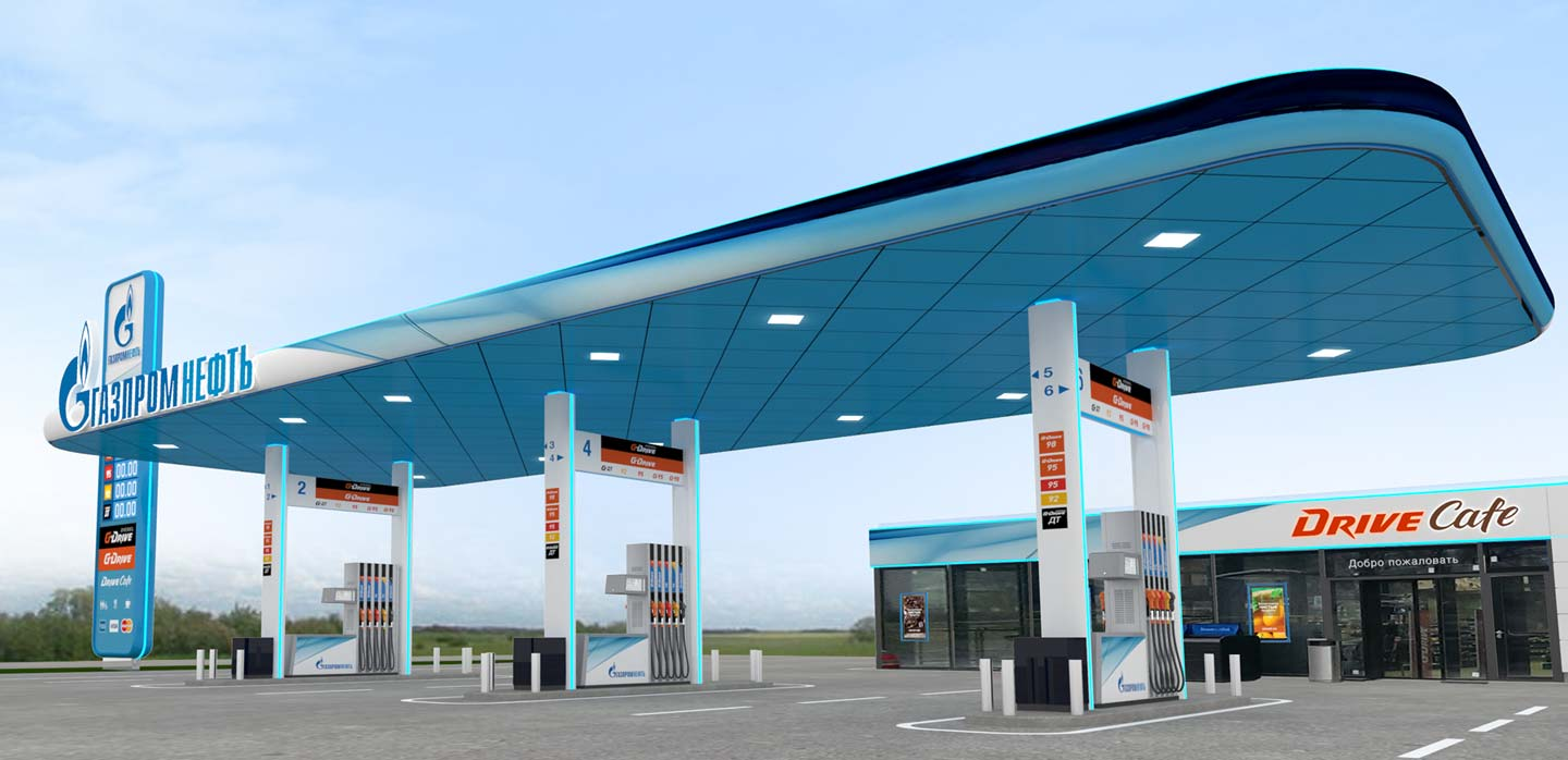 GazpromNeft new petrol forecourt concept designed by CampbellRigg
