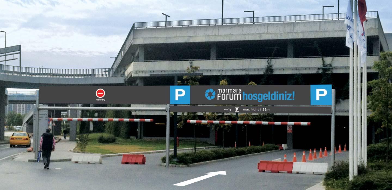 Marmara Forum car park entrance signage Istanbul, Turkey designed by CampbellRigg